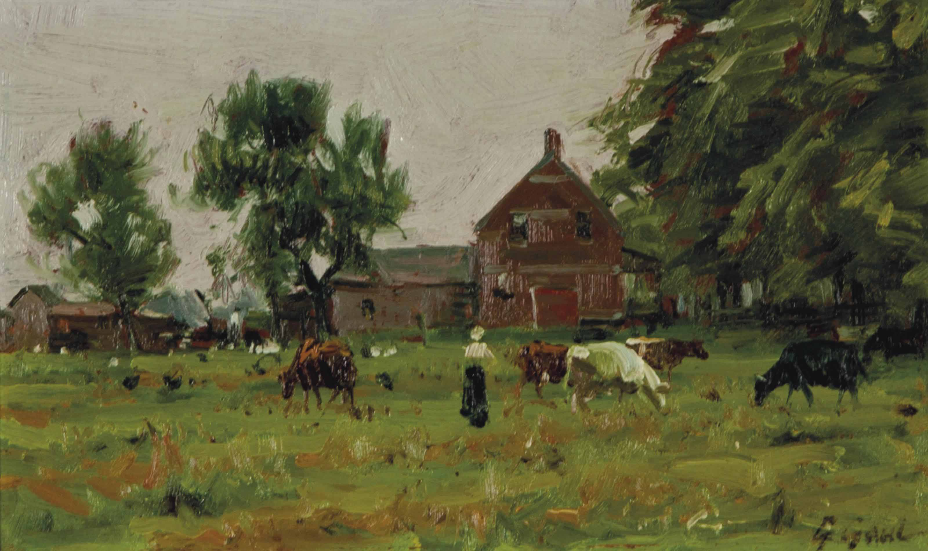 Farm in the Summer with cows