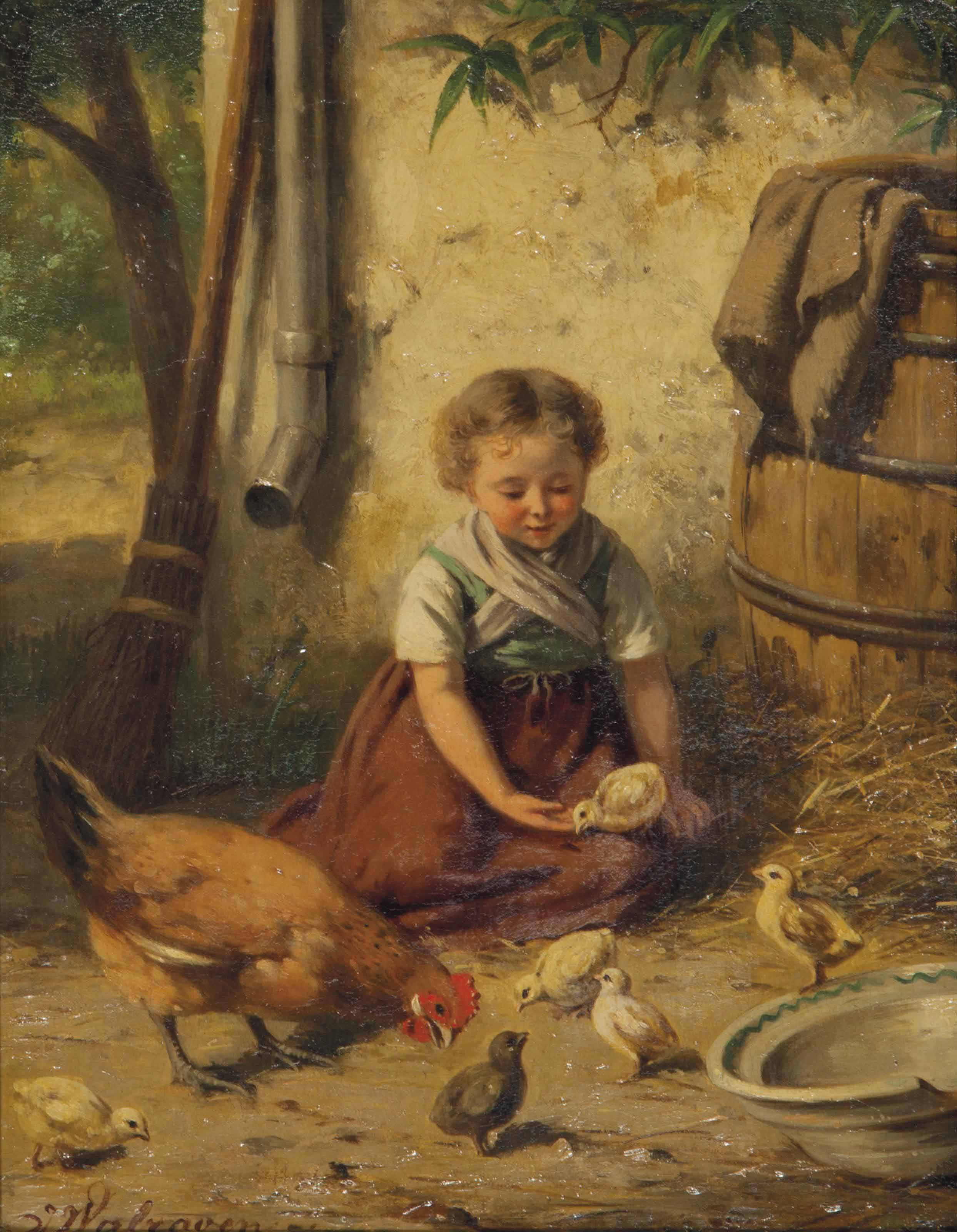 A young girl playing with chickens