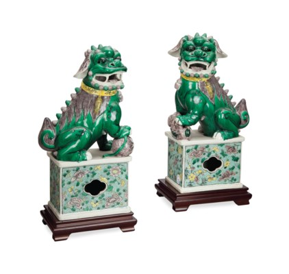 A PAIR OF CHINESE GREEN, AUBER