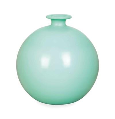 A GREEN GLASS GLOBULAR VASE,