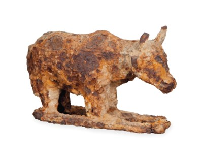 A CHINESE IRON MODEL OF AN OX,
