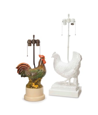 TWO PAIRS OF CERAMIC ROOSTER-F