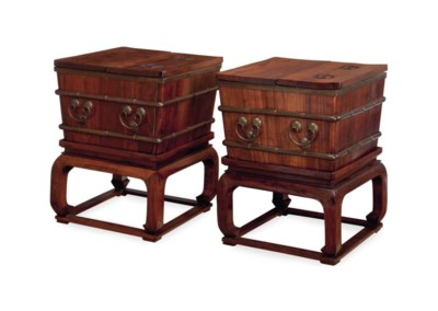 A PAIR OF CHINESE HARDWOOD ICE