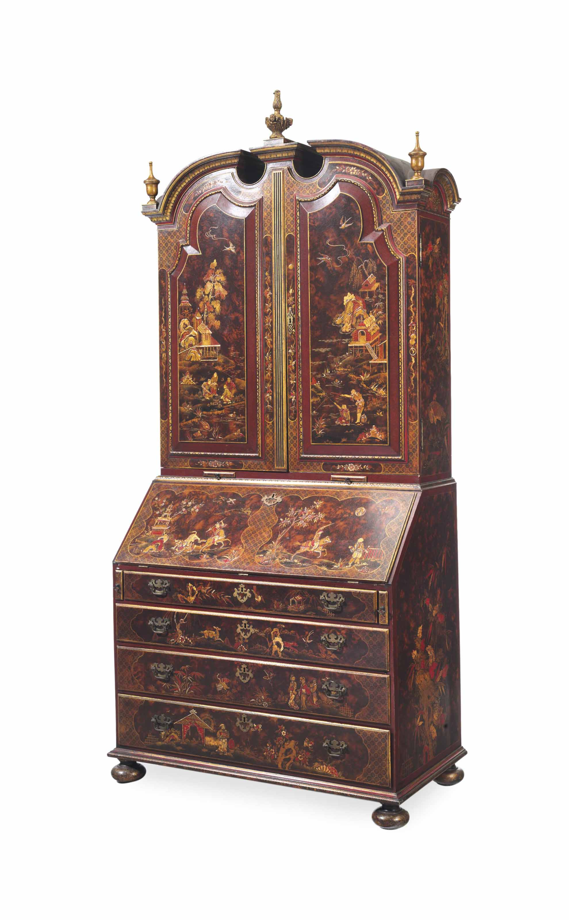 AN ENGLISH FAUX PAINTED AND PERSIMMON-JAPANNED SECRETAIRE BOOKCASE,