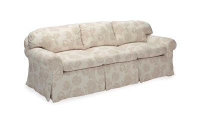 A WHITE AND BEIGE-UPHOLSTERED
