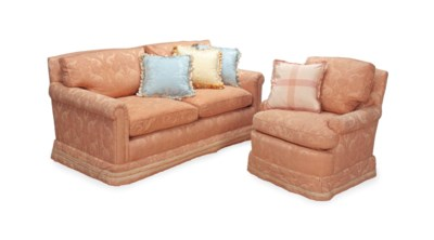 A PINK UPHOLSTERED TWO-SEAT SO
