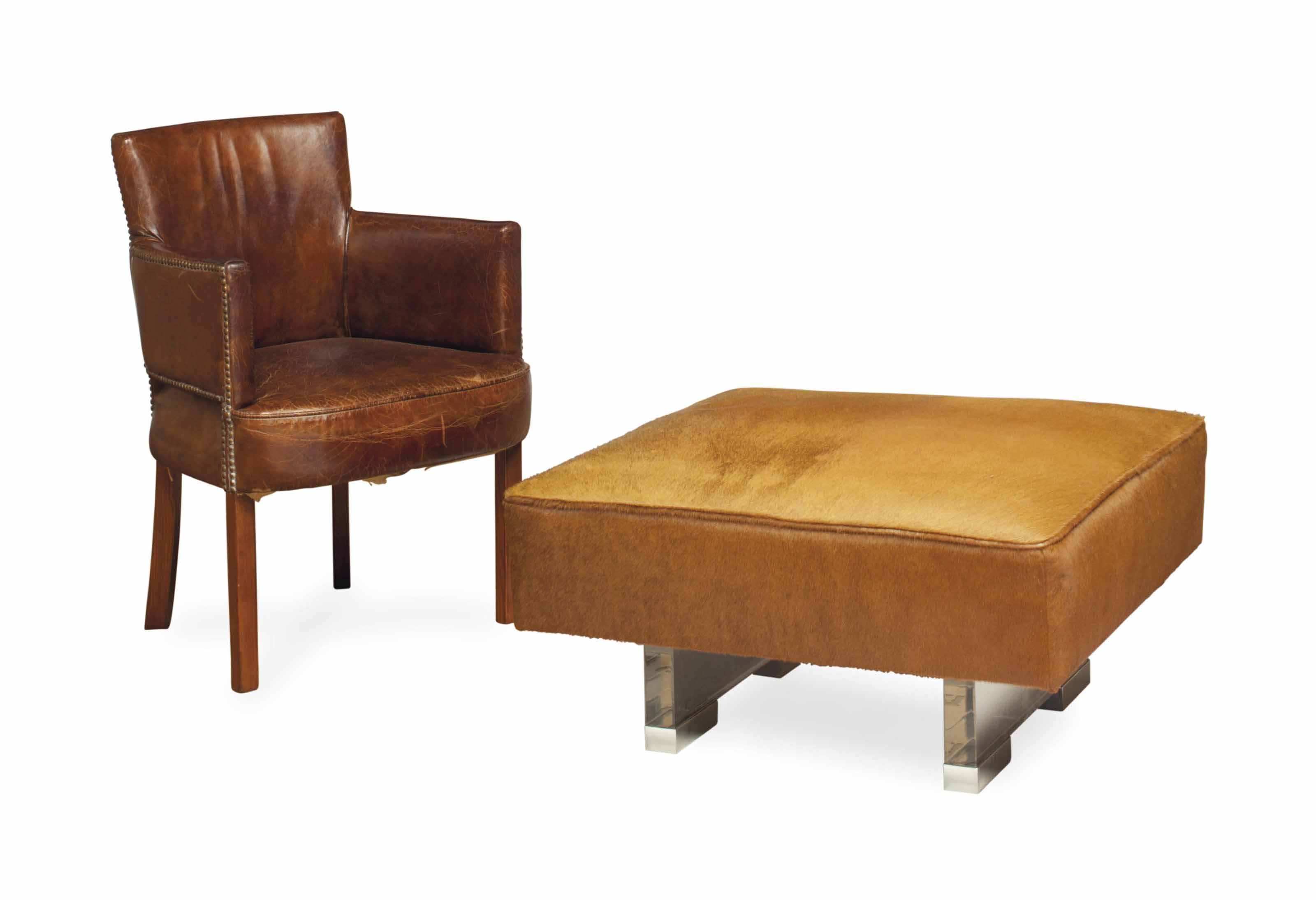A PAIR OF PONYSKIN, CHROMED-METAL AND PLEXIGLAS OTTOMANS, AND A PAIR OF OAK AND CLOSE-NAILED BROWN LEATHER ARMCHAIRS,