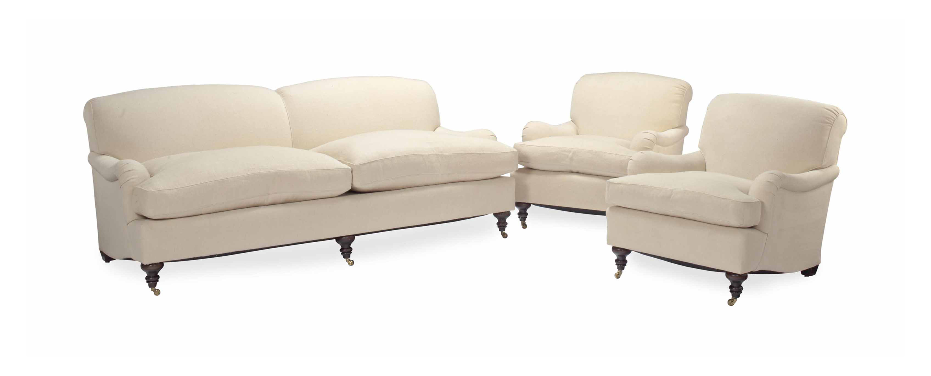 A CREAM LINEN-UPHOLSTERED TWO-SEAT SOFA AND A PAIR OF CLUB CHAIRS,