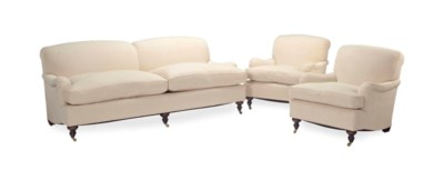 A CREAM LINEN-UPHOLSTERED TWO-