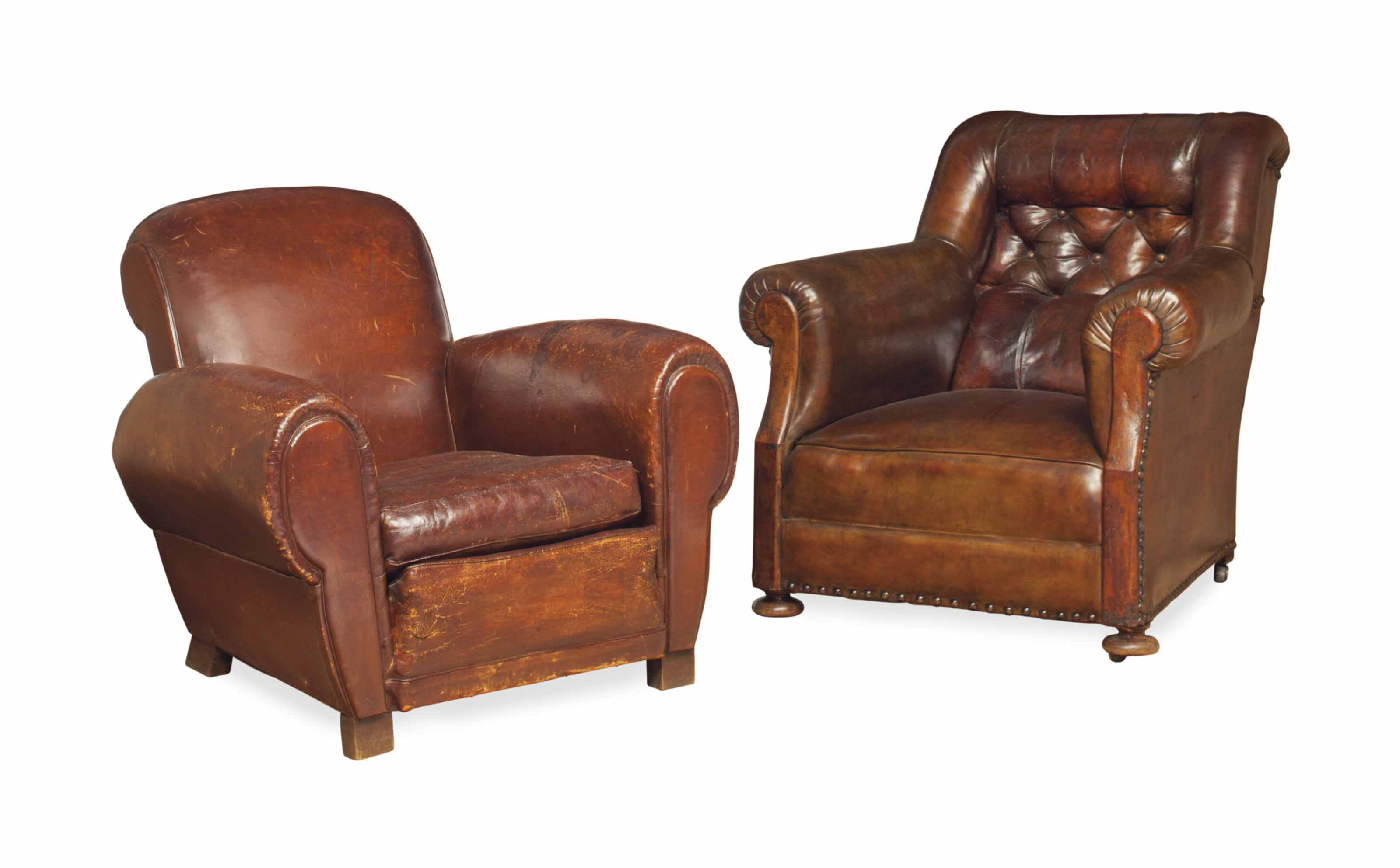 TWO LEATHER-UPHOLSTERED CLUB CHAIRS,