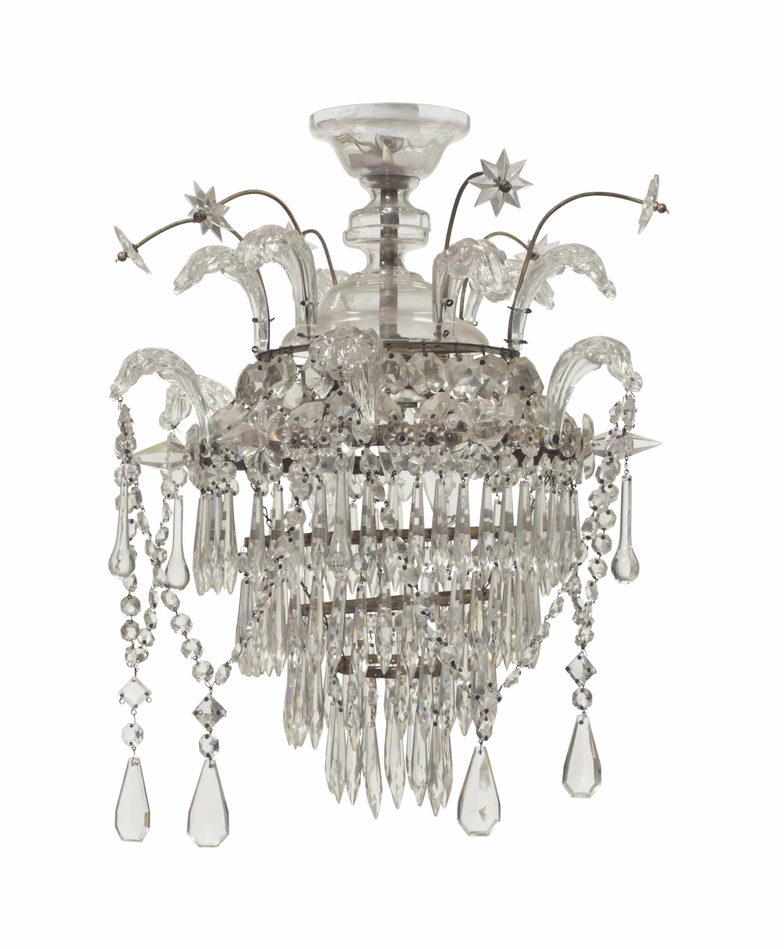 A CUT AND BEADED GLASS CHANDEL