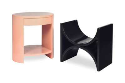 A PAIR OF PINK-LACQUERED SIDE