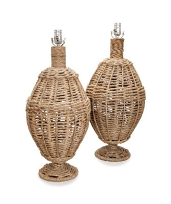 A PAIR OF ROPE-WRAPPED TABLE L