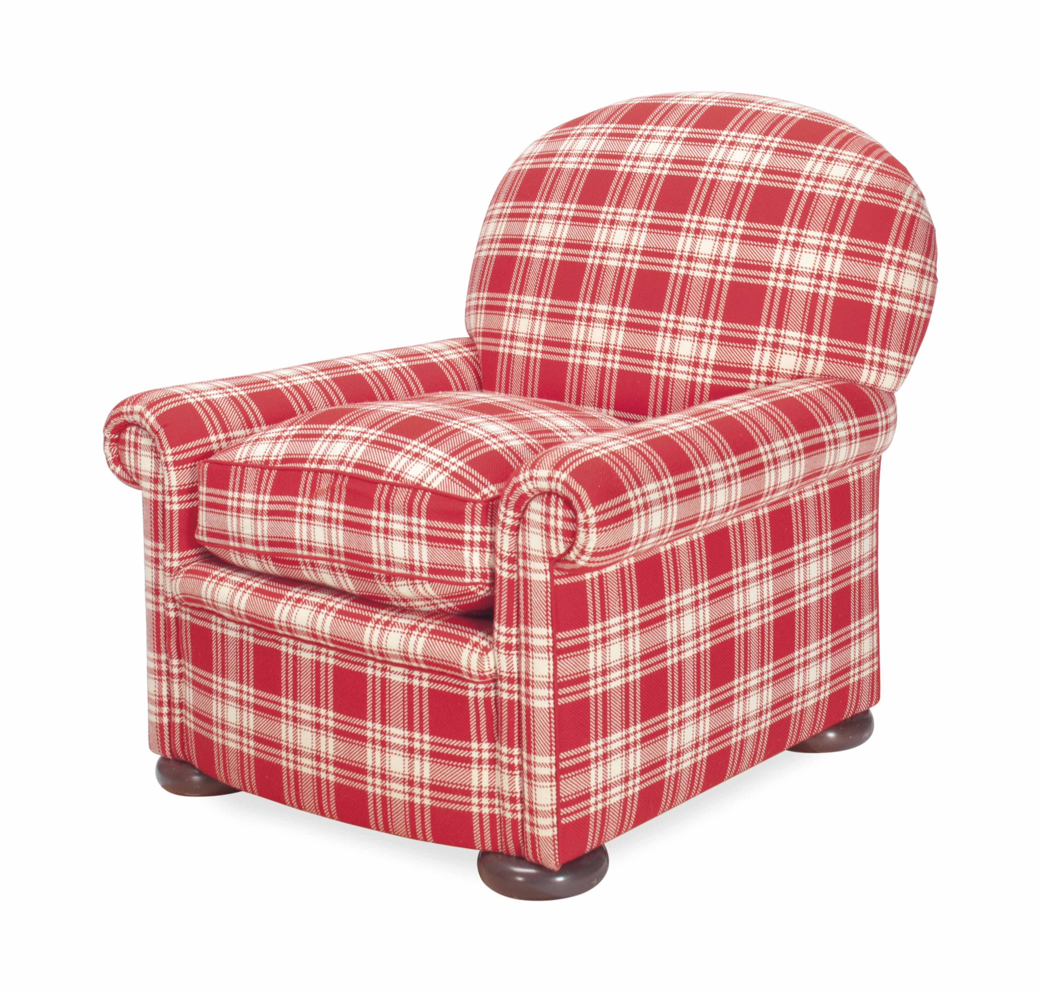 A RED AND WHITE PLAID UPHOLSTE
