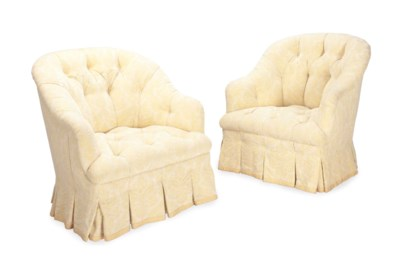 A PAIR OF BUTTON-TUFTED YELLOW