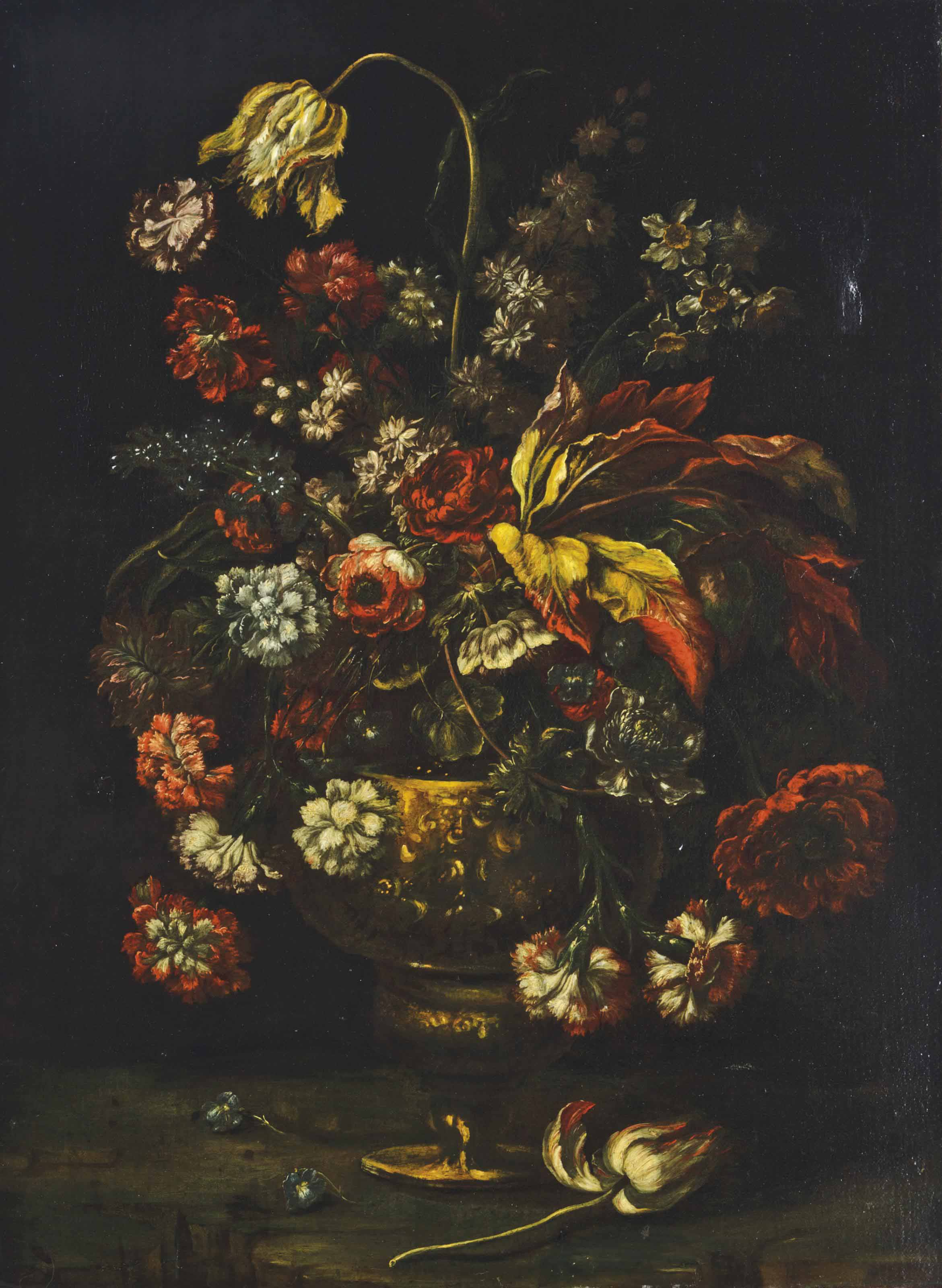 Still life with roses in an urn