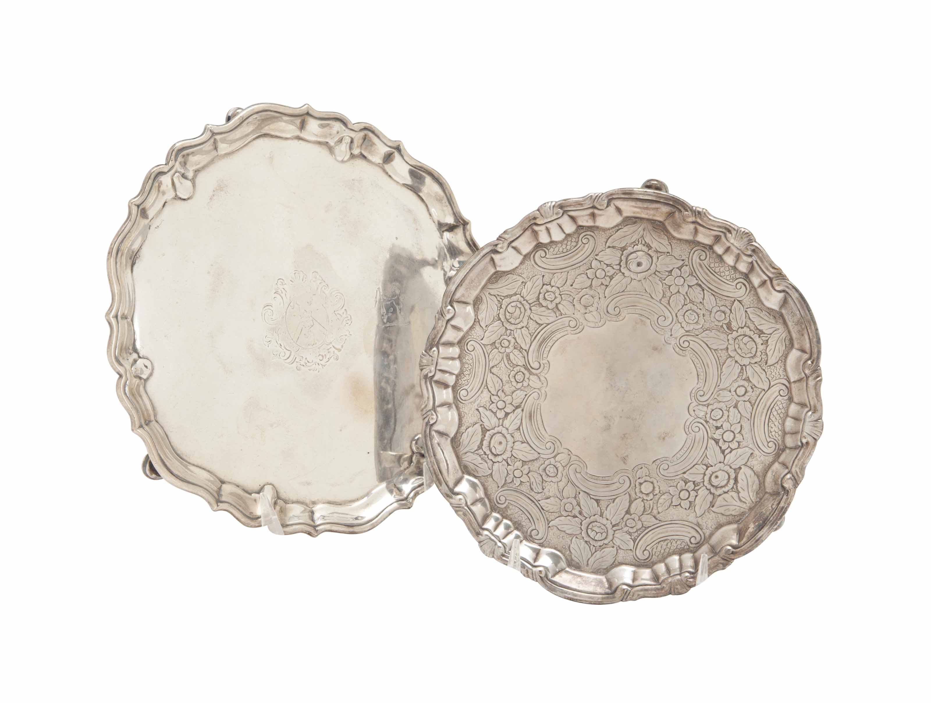 A GEORGE II SILVER SLAVER, AND