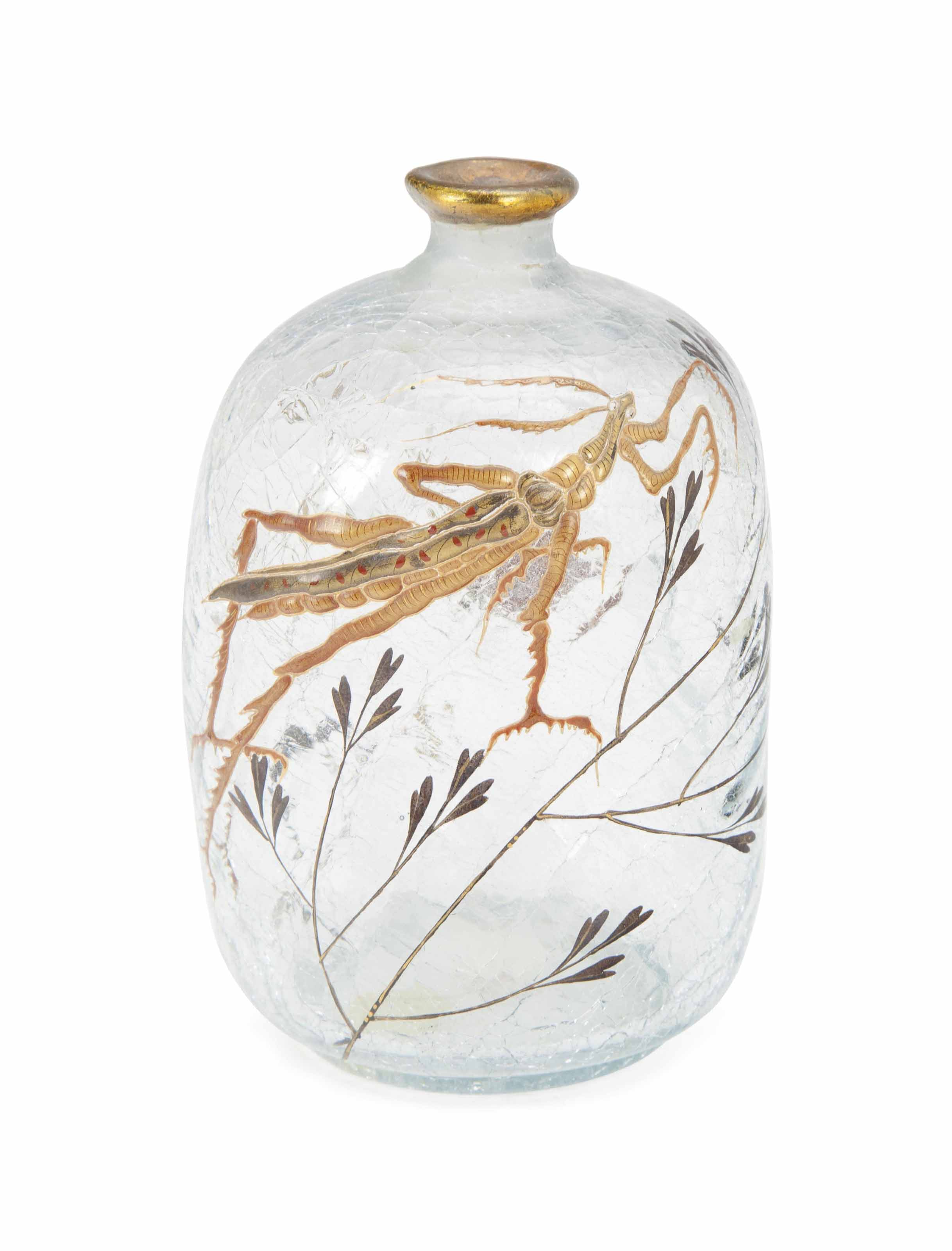 A FRENCH GILT AND ENAMELED GLASS VASE DECORATED WITH A PREYING MANTIS,