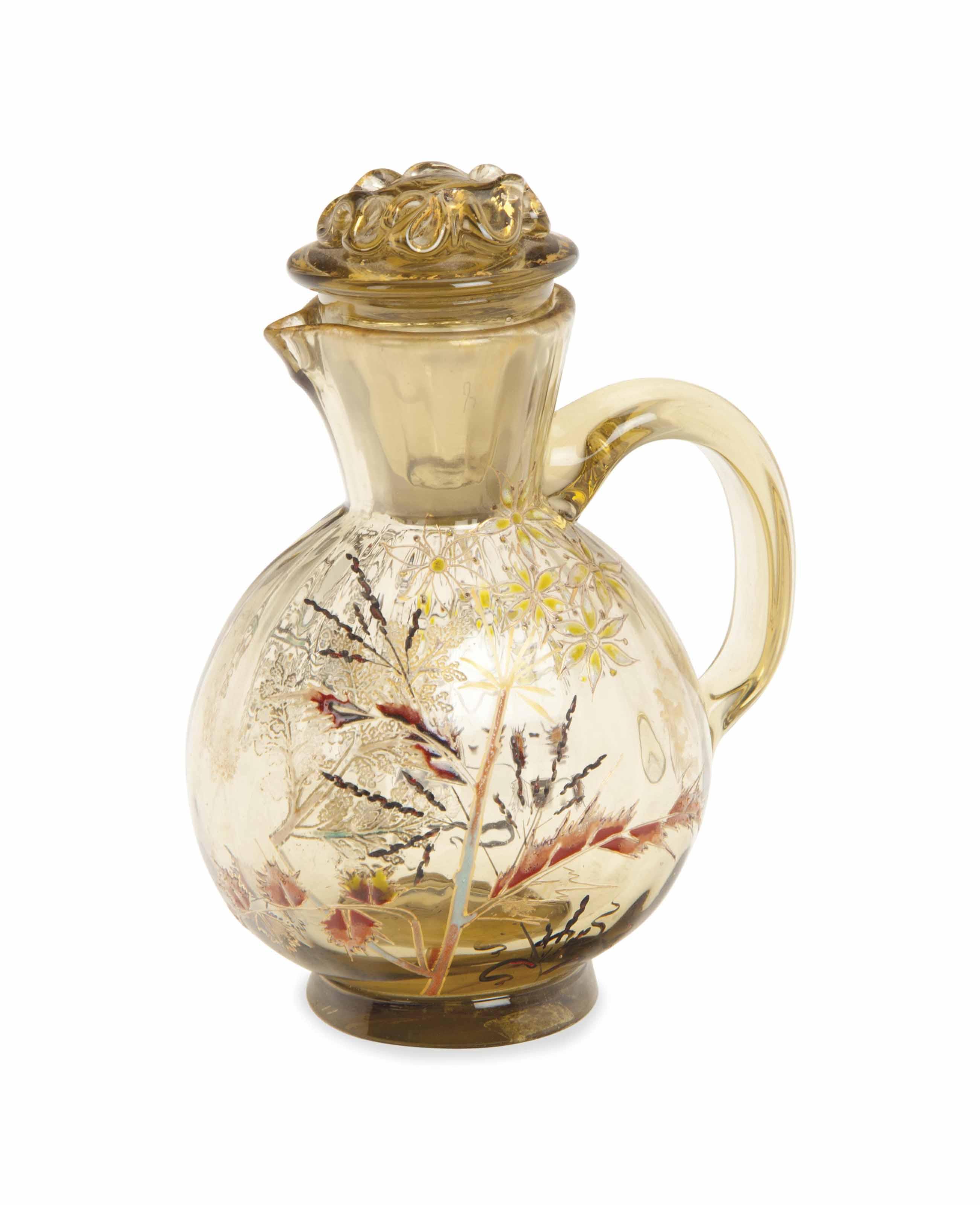 A FRENCH ENAMELED GLASS CRUET,
