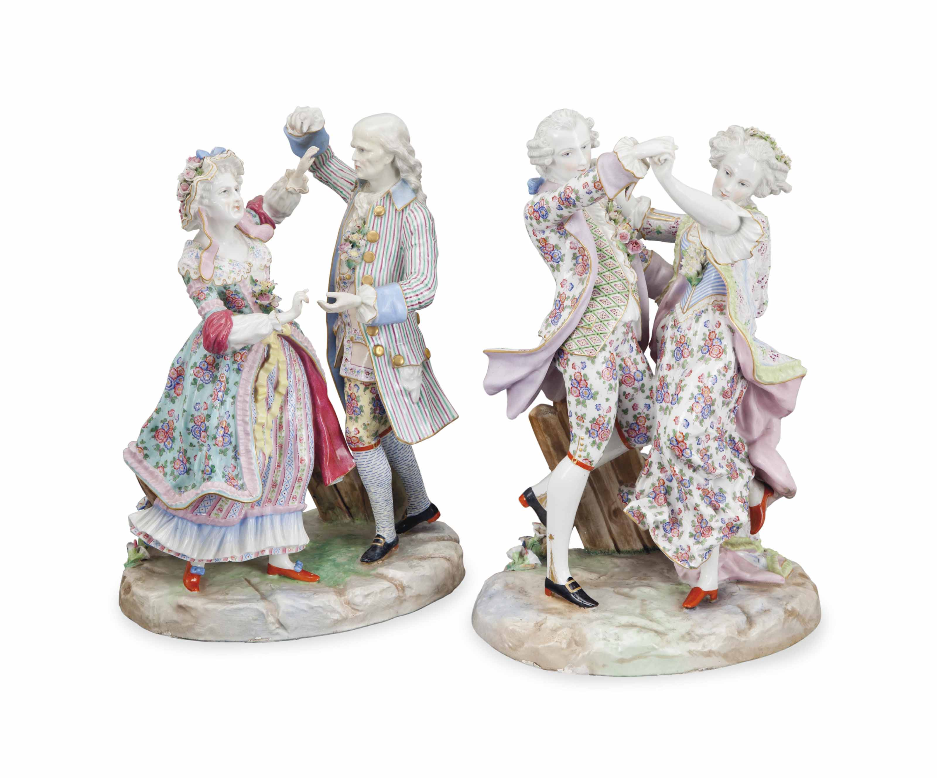 PAIR OF MEISSEN-STYLE PORCELAI