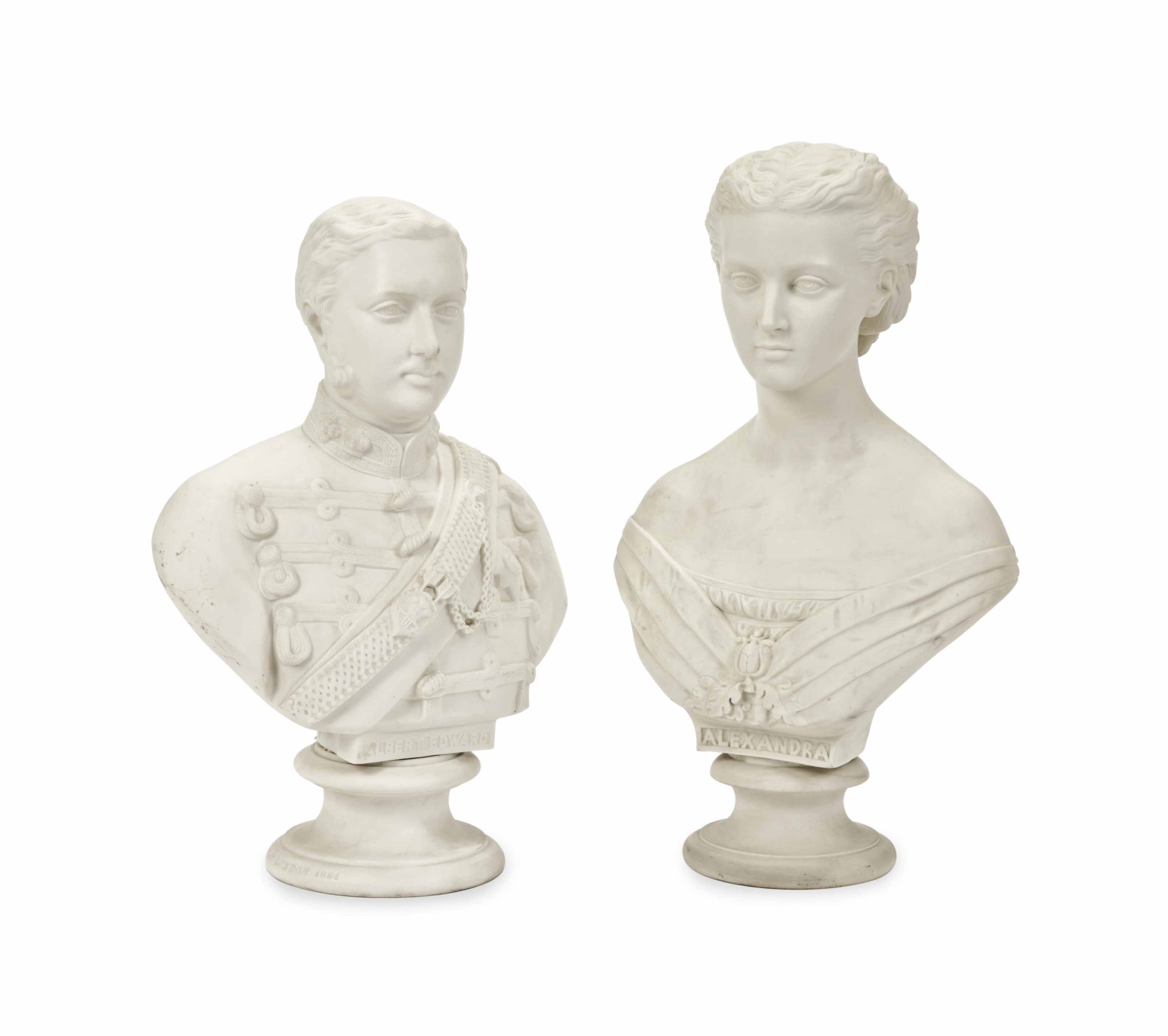 A PAIR OF ENGLISH PARIAN BUSTS