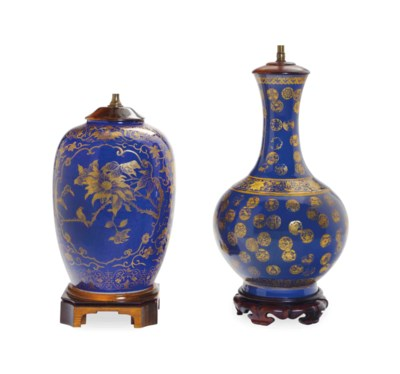 TWO CHINESE PORCELAIN GILT DEC