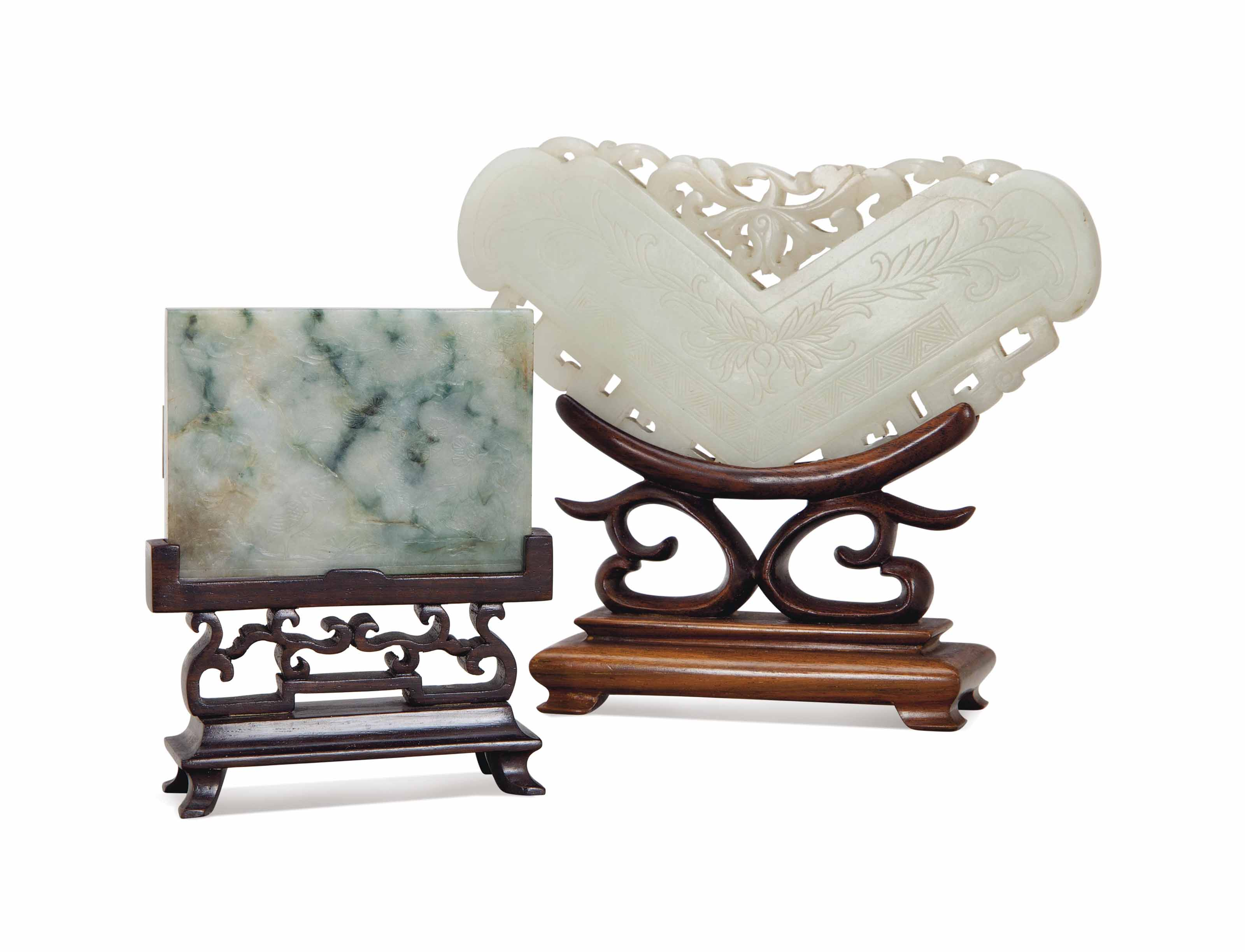 A CHINESE CARVED JADE AND ANOT