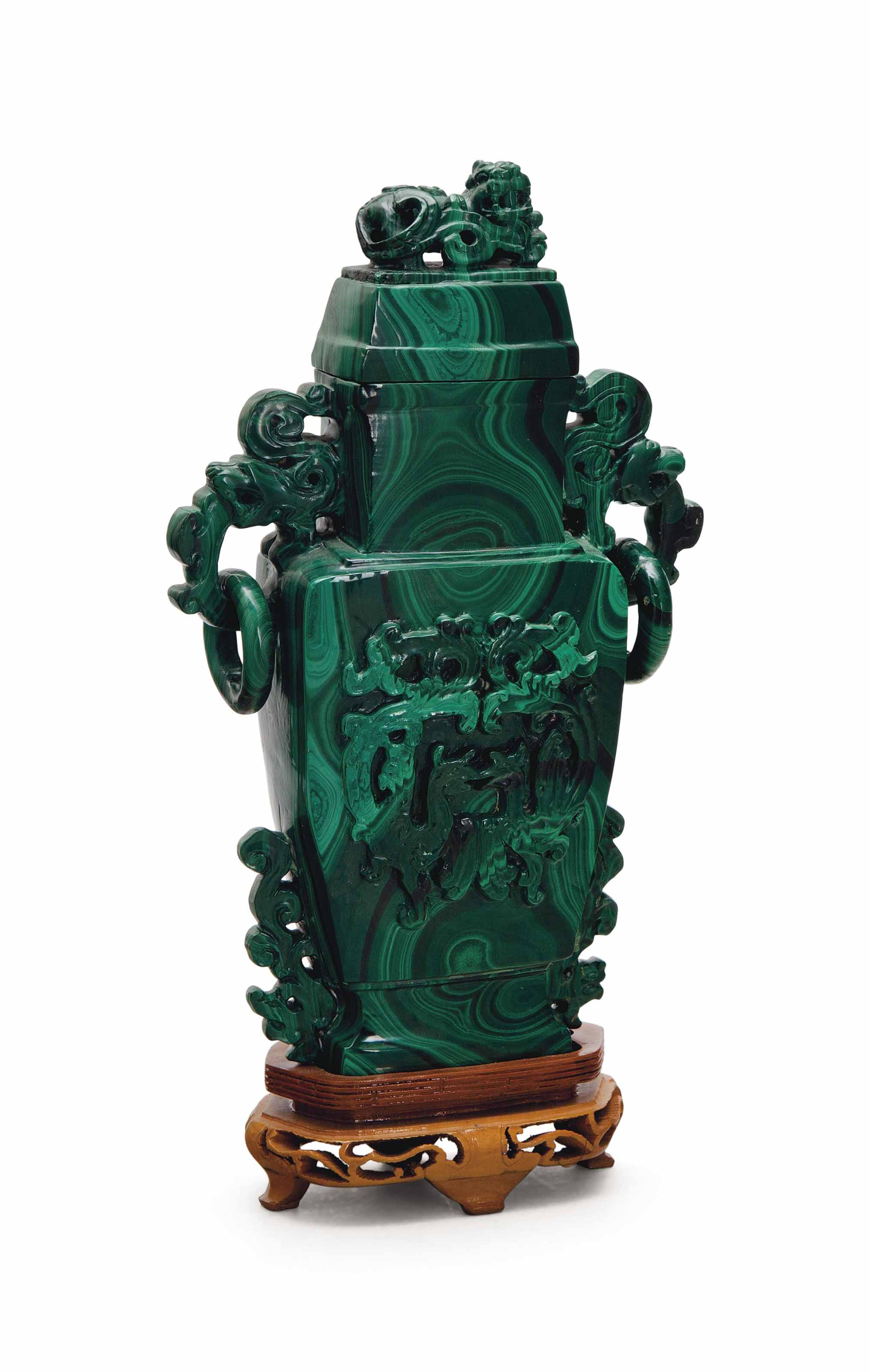 A CHINESE CARVED MALACHITE TWO