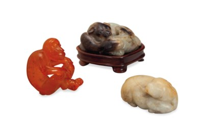 THREE CHINESE CARVINGS OF ANIM