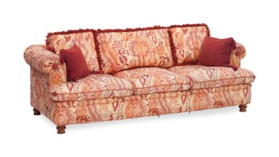 A RED AND CREAM DAMASK-UPHOLST