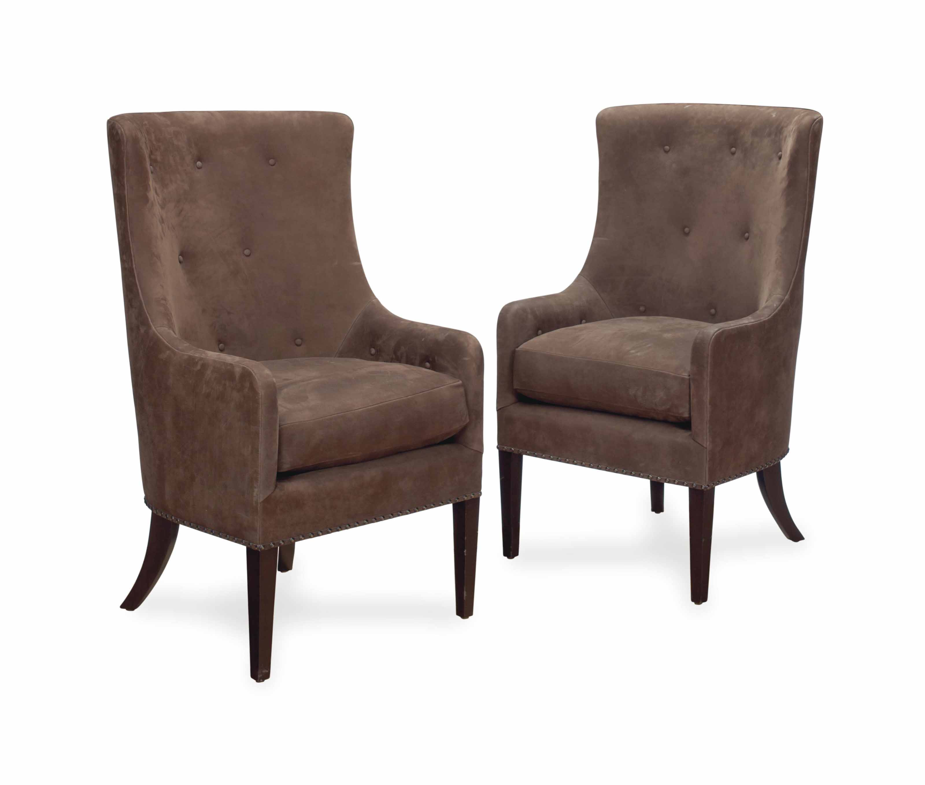 A SET OF SIX BROWN SUEDE-UPHOLSTERED DINING CHAIRS, , LATE ...