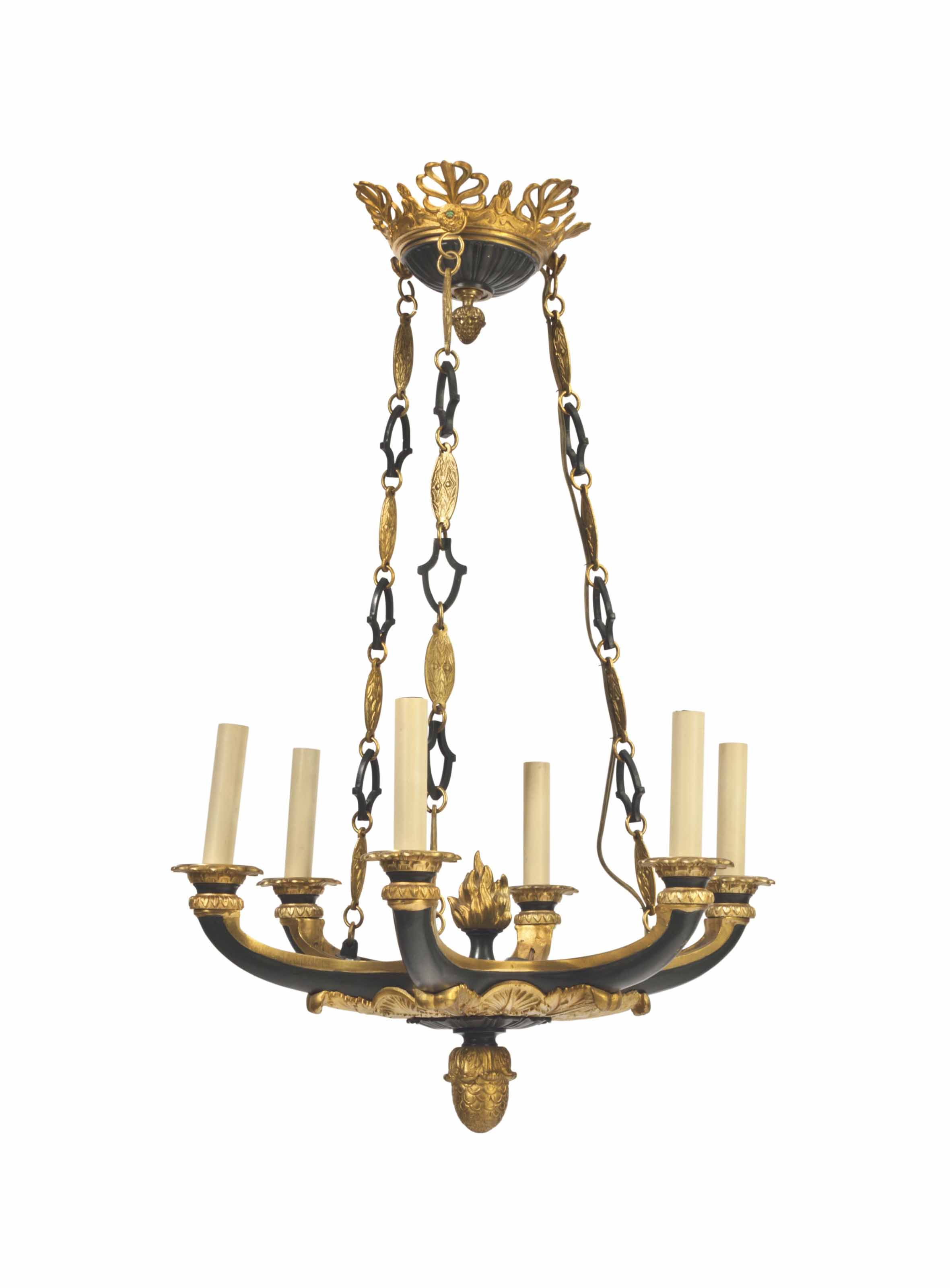 A GILT AND PATINATED METAL SIX