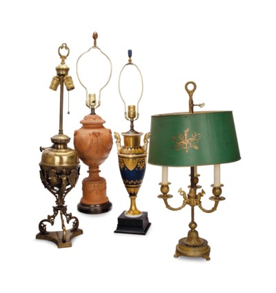 A GROUP OF FOUR TABLE LAMPS,