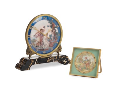 TWO GILT METAL AND ENAMEL TABL
