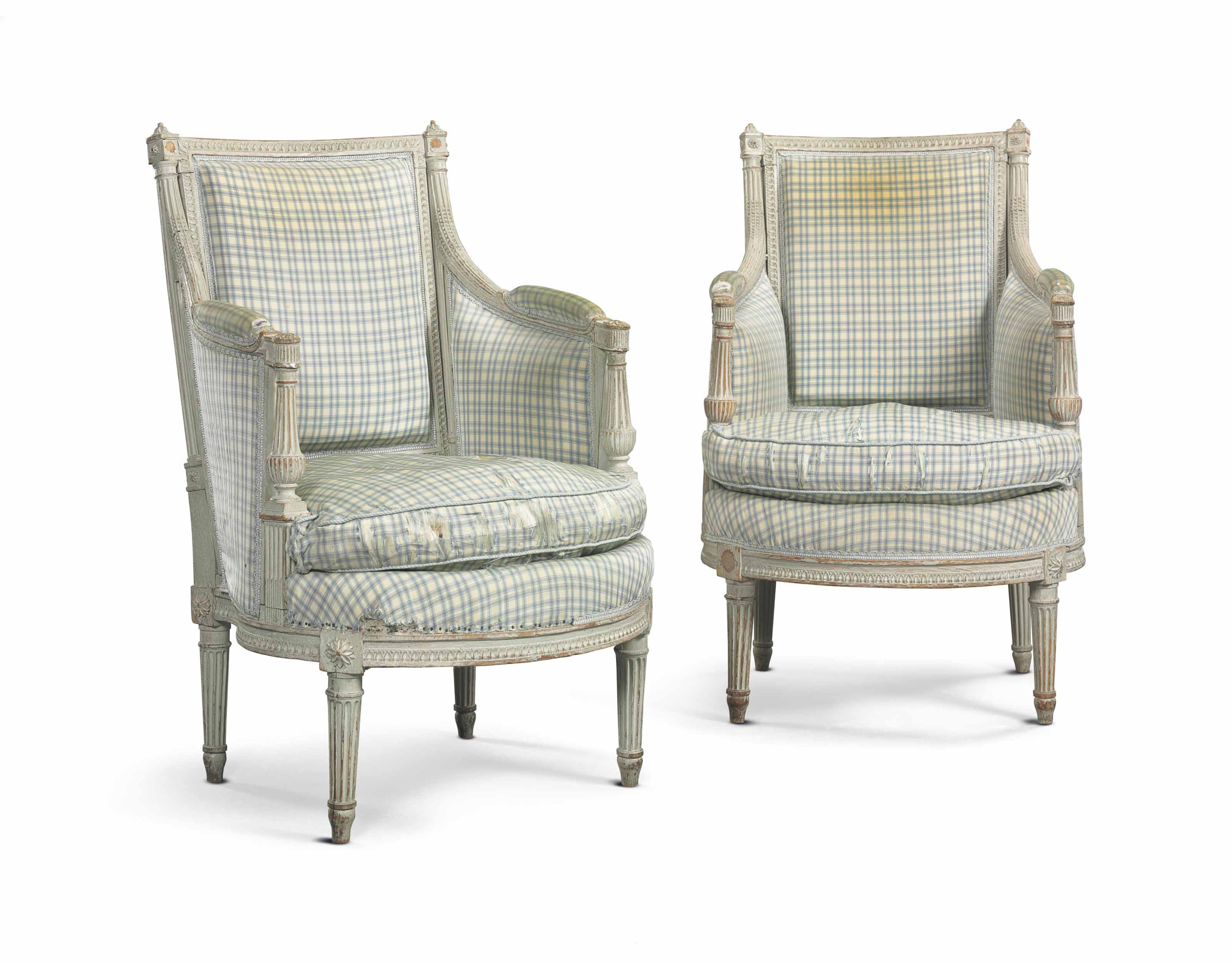 A PAIR OF LOUIS XVI GREY-PAINTED BERGERES,