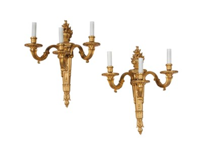 A PAIR OF LOUIS XVI STYLE THRE