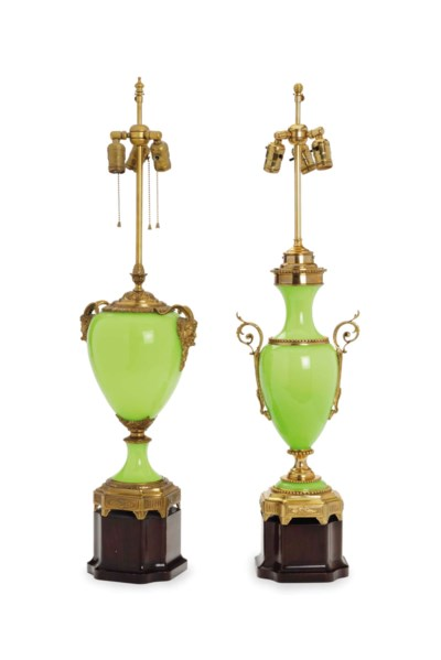 TWO ORMOLU-MOUNTED OPALINE GLA