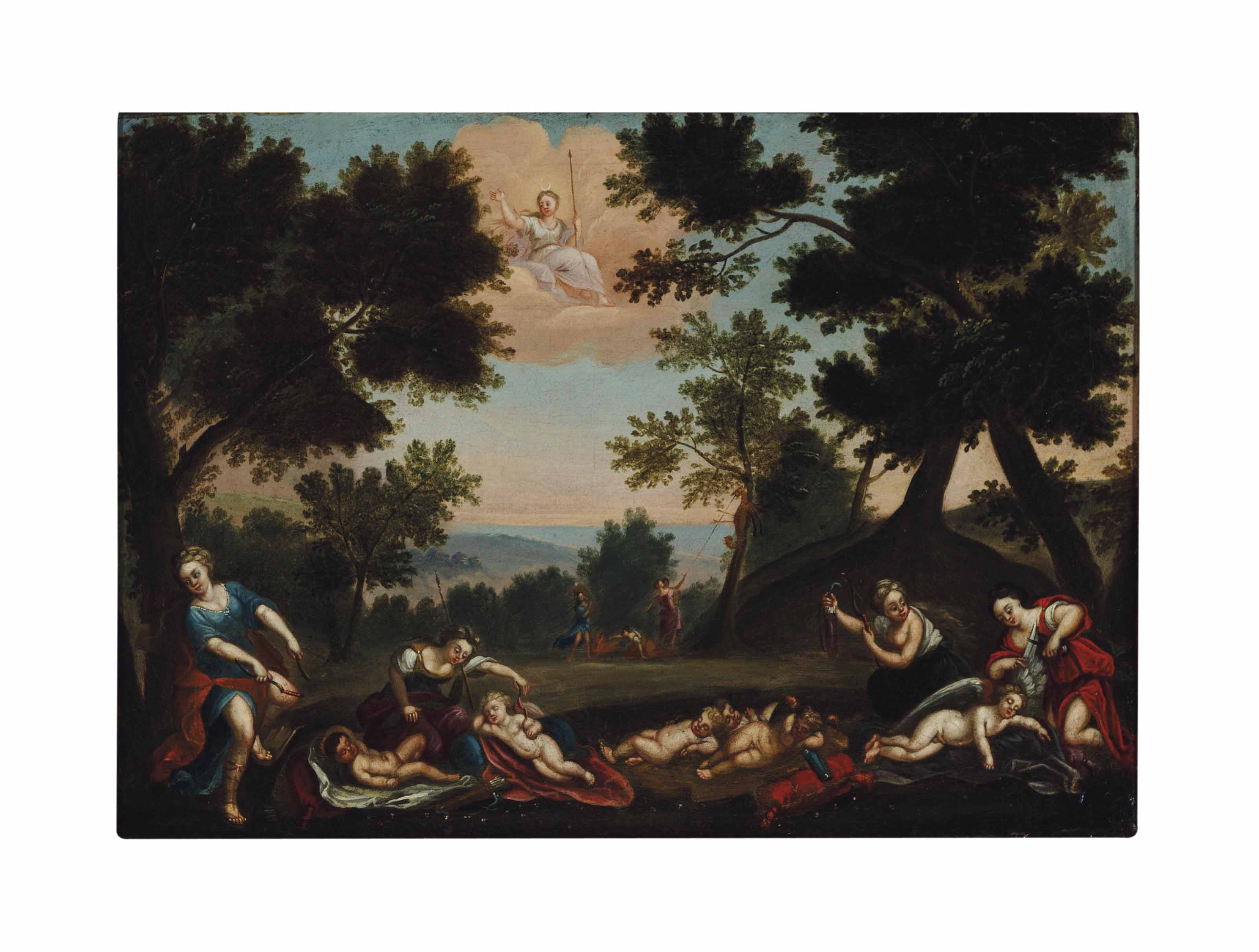 Sleeping Cupids disarmed by the nymphs