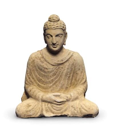 A stucco figure of Buddha