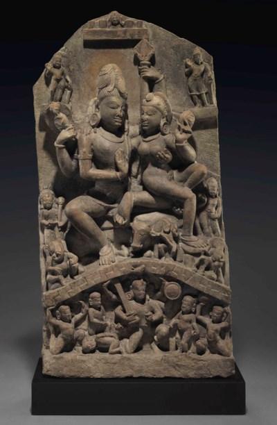 A stone stele of Umamaheshvara