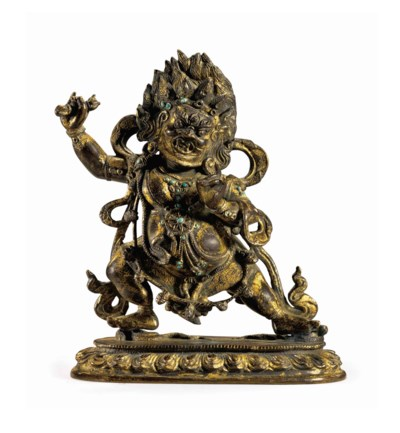 A gilt bronze figure of Vajrap