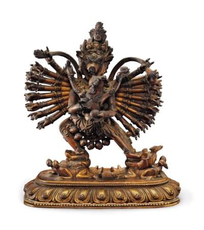 A gilt wood figure of Vajrabha