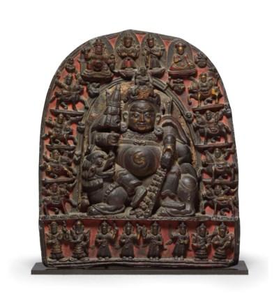 A black stone stele of Vaishra