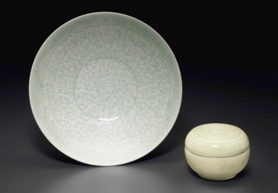A QINGBAI CONICAL BOWL AND A B