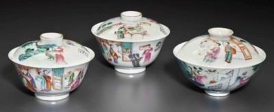 TWO FAMILLE ROSE BOWLS AND COV