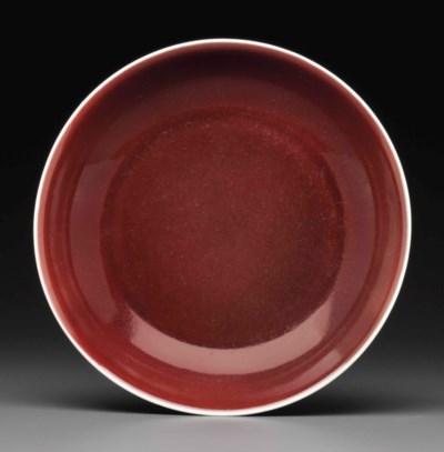A COPPER-RED-GLAZED DISH