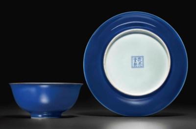 A BLUE-GLAZED BOWL AND A BLUE-