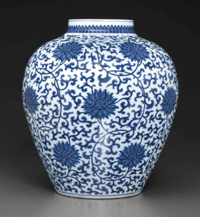 A LARGE BLUE AND WHITE OVOID J
