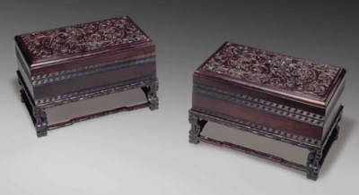 A PAIR OF ZITAN RECTANGULAR BO