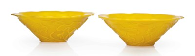 A PAIR OF SEMI-OPAQUE YELLOW G